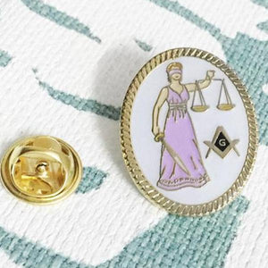 Lawyer Lady Justice Sword Masonic Lapel Pin - Bricks Masons