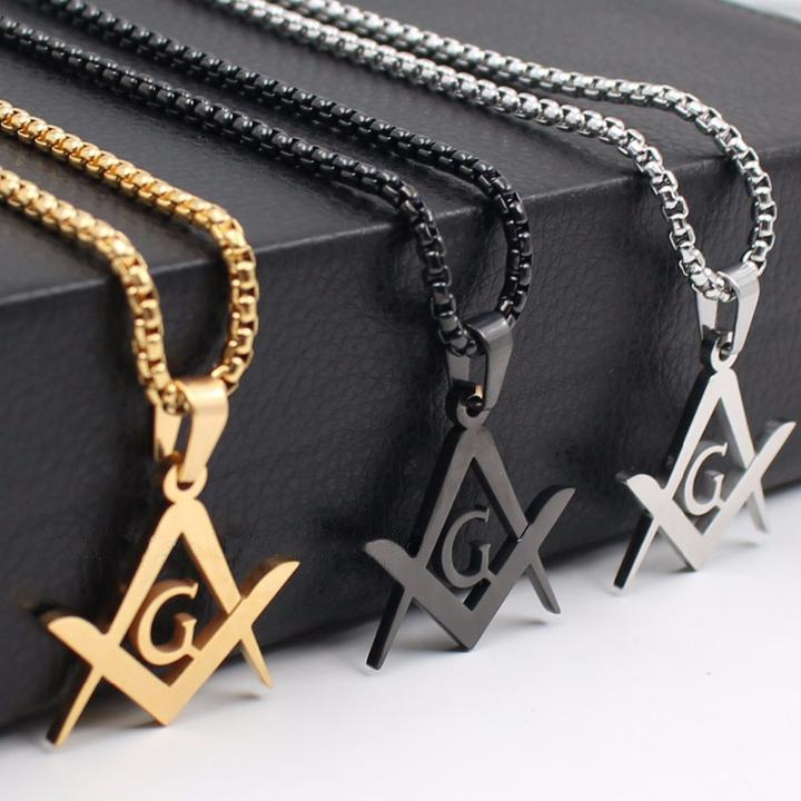Gold/ Silver/Black Stainless Steel Masonic Symbol Necklace - Bricks Masons