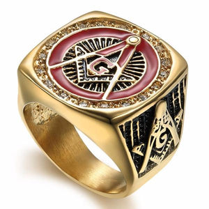 Red Gold Color with Crystal Masonic Ring - Bricks Masons