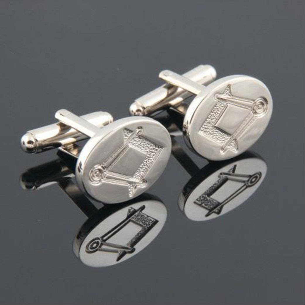 Oval Compass Square Masonic Cufflinks - Bricks Masons