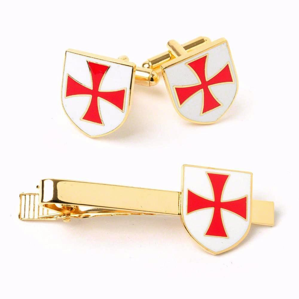 Masonic Knights Templar KT Cufflinks & Tie Clip - Bricks Masons