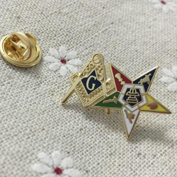Order of the Eastern Star Patron Square and Compass Masonic Lapel Pin - Bricks Masons