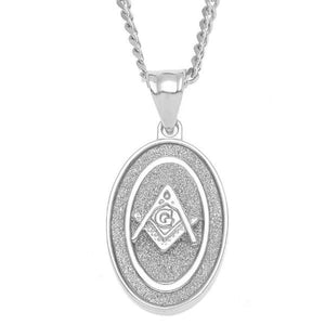 Oval Masonic Square Compass Pendant Silver Necklace