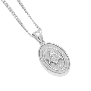 Oval Masonic Square Compass Pendant Silver Necklace - Bricks Masons