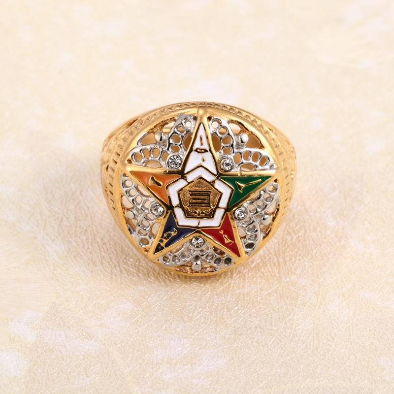 Order of the Eastern Star OES Masonic Golden Ring - Bricks Masons