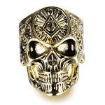 Gothic Skull Golden Alloy Masonic Ring - Bricks Masons