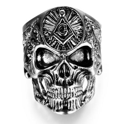 Gothic Skull Silver Alloy Masonic Ring - Bricks Masons