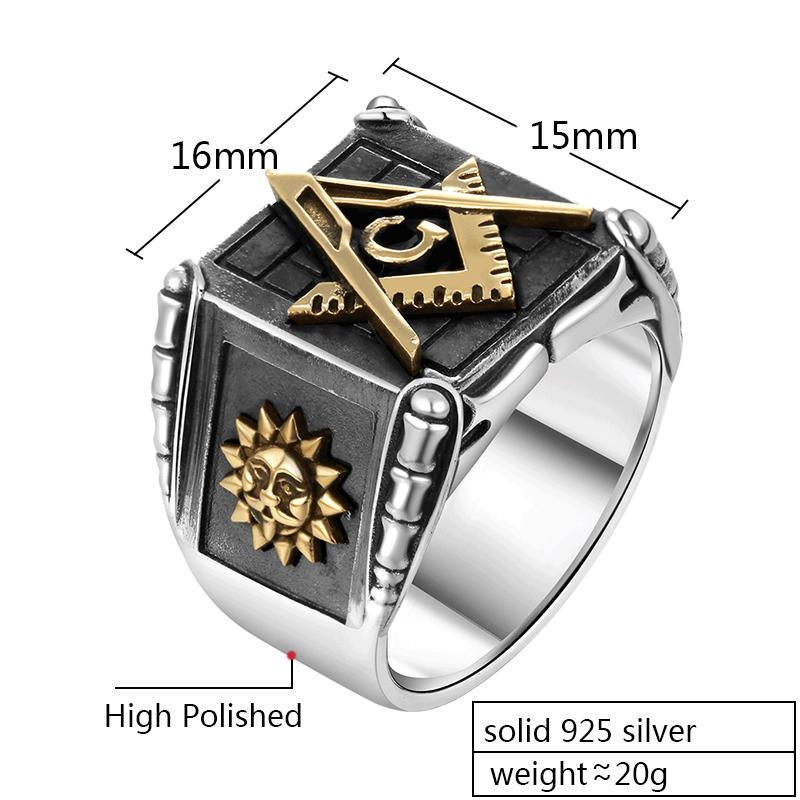 Sun Moon Deluxe Masonic 925 Sterling Silver Ring - Bricks Masons