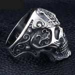Gothic Skull Motif Silver Masonic Ring - Bricks Masons