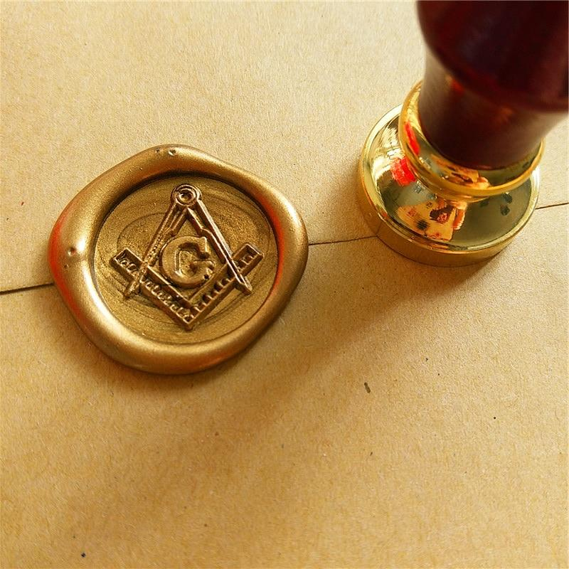 Square Compass G Wax Seal Stamp - Bricks Masons