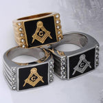 Cubic Zirconia Bold Masonic Ring [Multiple Colors] - Bricks Masons
