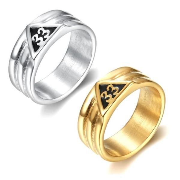 33rd Degree Classic Masonic Ring [Silver & Gold] - Bricks Masons