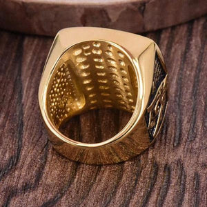 Gold Color with Pyramid Crystal Masonic Ring - Bricks Masons
