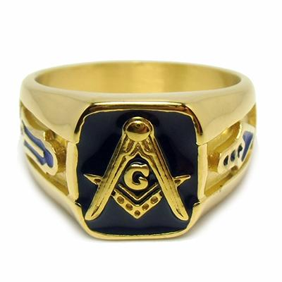 Retro Golden Masonic Ring - Bricks Masons