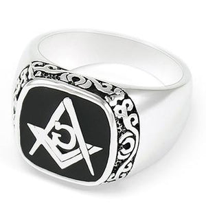 Classic Motif Masonic Ring [Black Blue Red] - Bricks Masons