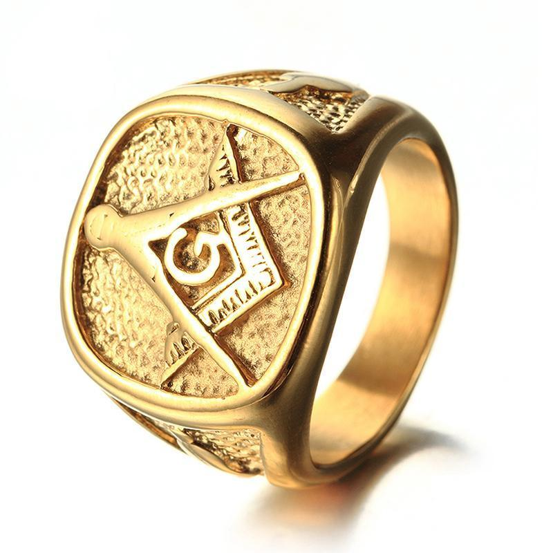 All Gold Tone Stainless Steel Masonic Signet Ring - Bricks Masons