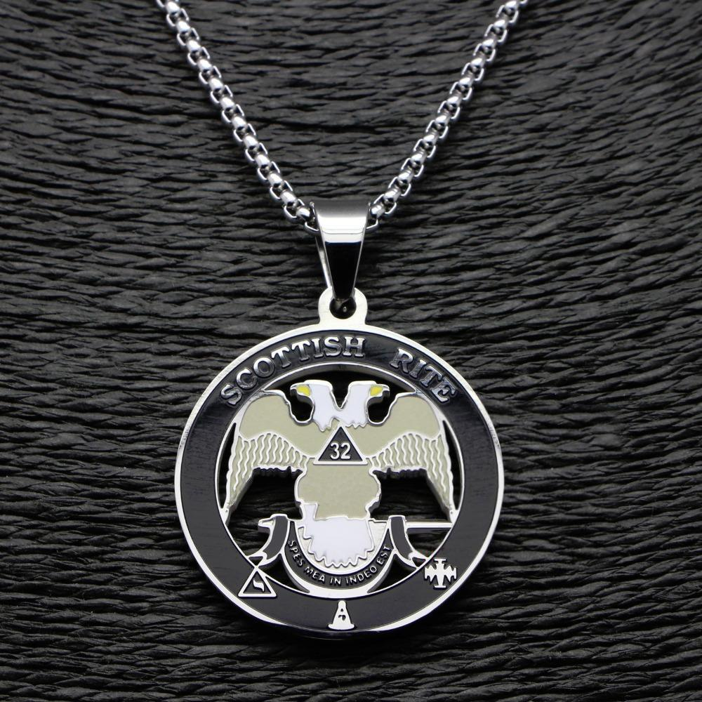 Scottish Rite 32nd Degree Silver Color Masonic Necklace