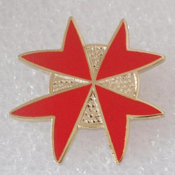 Masonic Malta Templar Red Lapel Pin - Bricks Masons