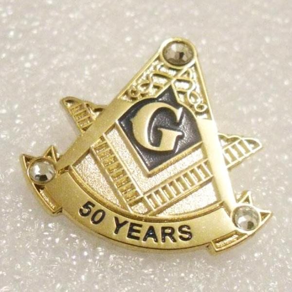 Blue Lodge 50 Years Rhinestones Masonic Lapel Pin - Bricks Masons