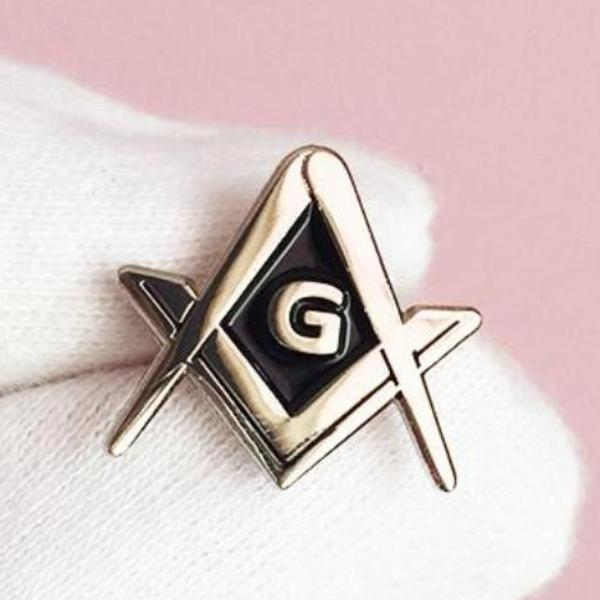 Square and Compass Masonic Lapel Pin G Silver Color
