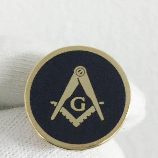 Square and Compass with G Round Black Lapel Pin - Bricks Masons