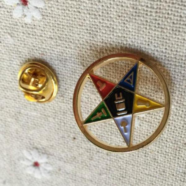 Order of the Eastern Star Cut Out Lapel Pin - Bricks Masons