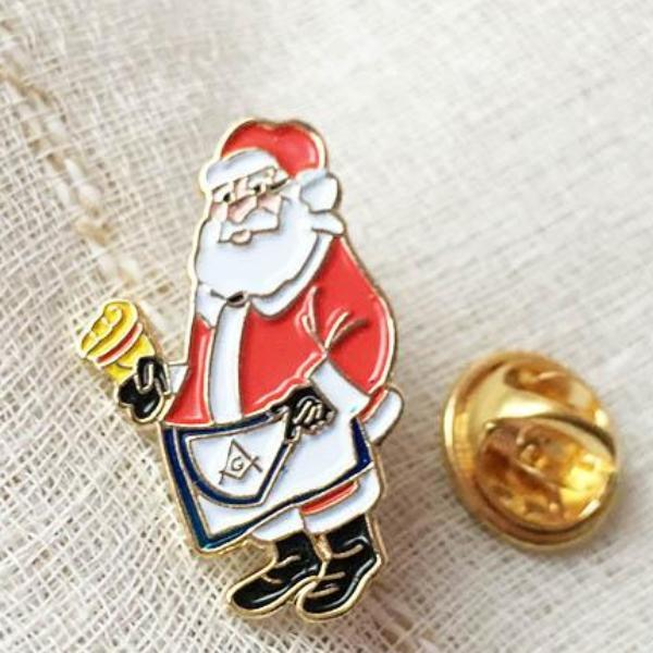 1'' Masonic Master Apron Lapel Pin Santa Christmas - Bricks Masons