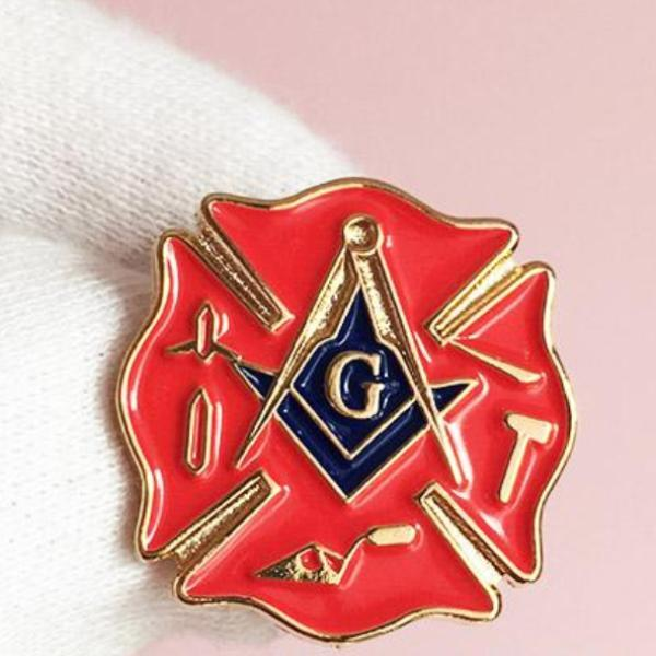 Fireman Fire Service First Responder Masonic Lapel Pin - Bricks Masons