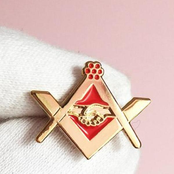 Masonic Grip Square Compass Red Lapel Pin