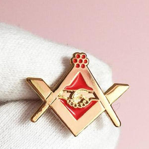 Masonic Grip Square Compass Red Lapel Pin - Bricks Masons
