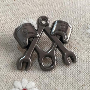 Piston Wrench Nickel Masonic Lapel Pin - Bricks Masons