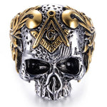 Stainless Steel Gothic Masonic Skull Ring - Bricks Masons