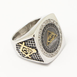 Eye of Horus Pyramid Freemason Silver Gold Masonic Ring - Bricks Masons