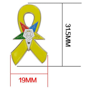 Support Our Troops Awareness Eastern Star OES Yellow Ribbon Lapel Pin - Bricks Masons