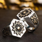 32 Degree Silver Sterling Sons of Light Hexagon Masonic Ring [Laser Text Engraving] - Bricks Masons