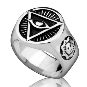 All Seeing Eye Pyramid 925 Sterling Silver Ring - Bricks Masons