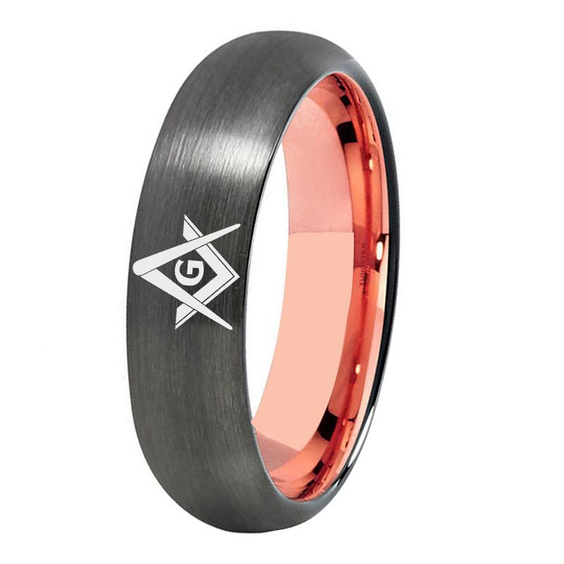 Gunmetal With Rose Gold Tungsten Masonic Ring FREE Engraving - Bricks Masons