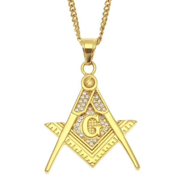 Zirconia Stainless Steel Freemason Pendant Necklace