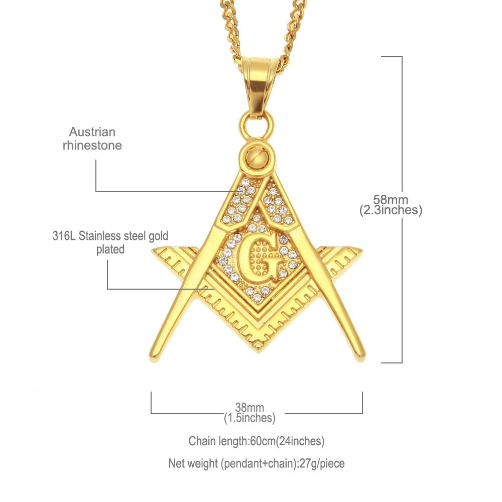 Zirconia Stainless Steel Freemason Pendant Necklace - Bricks Masons