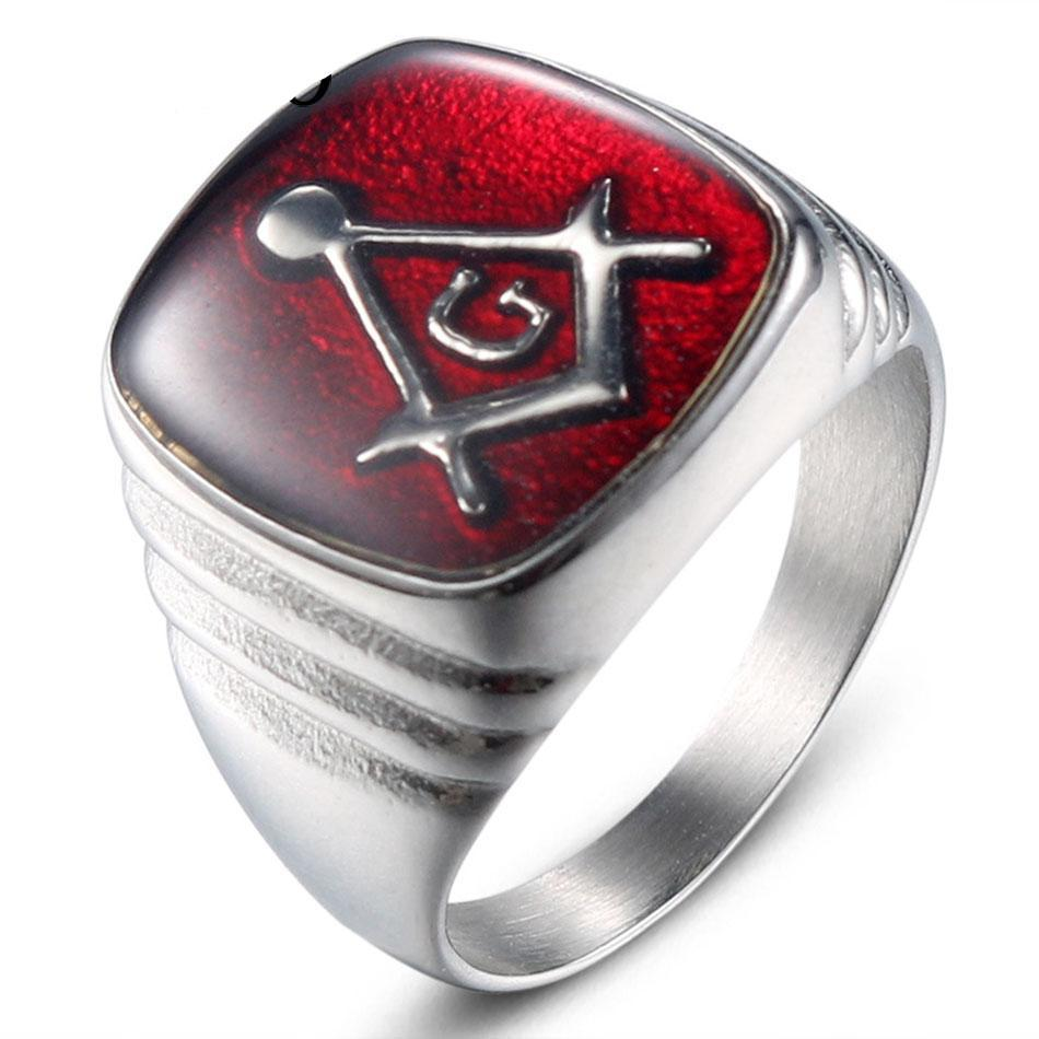 Red Color Masonic Oiled Stainless Steel Ring - Bricks Masons