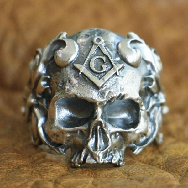 925 Sterling Silver Masonic Skull Ring - Bricks Masons