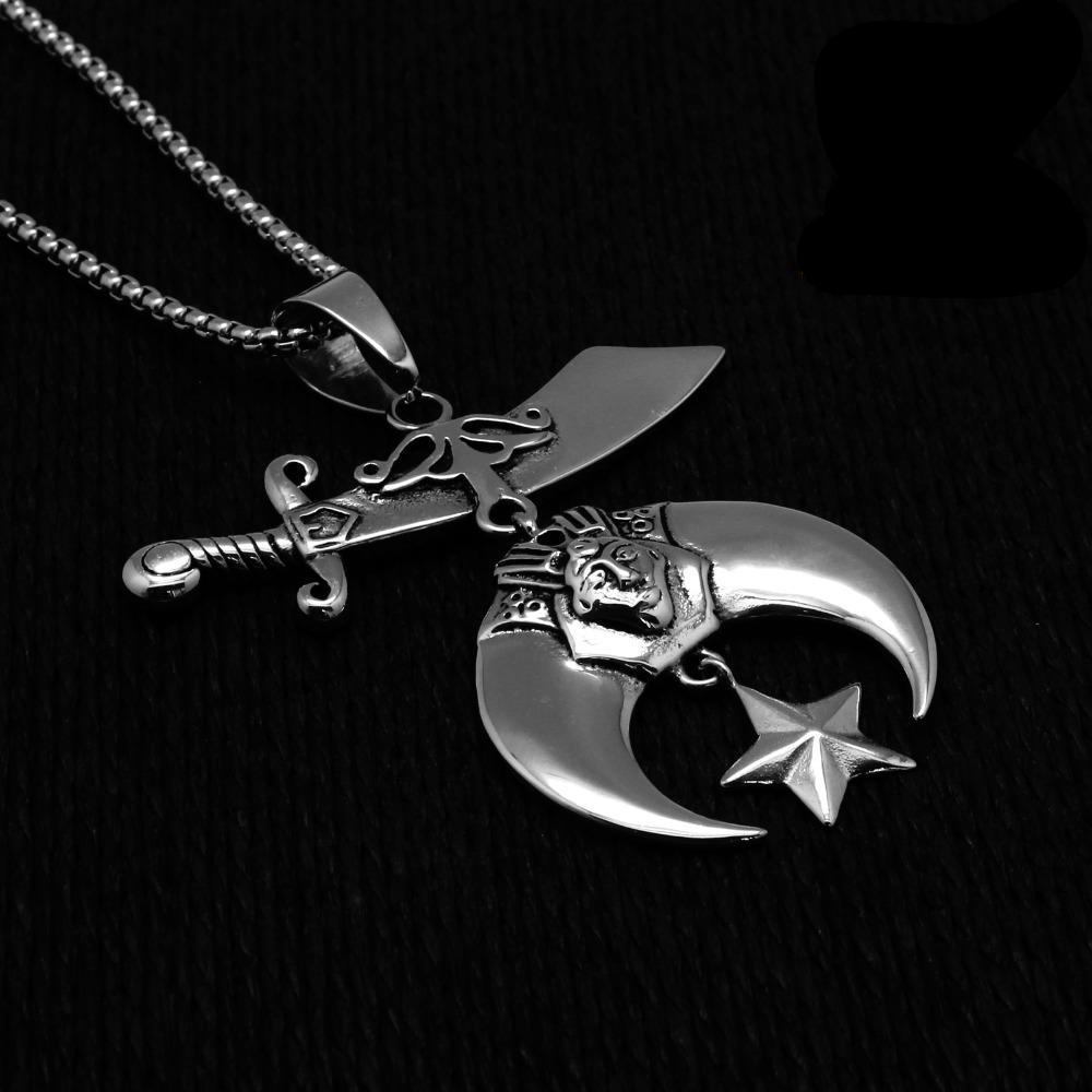 Shriner Emblem Silver Masonic Necklace - Bricks Masons