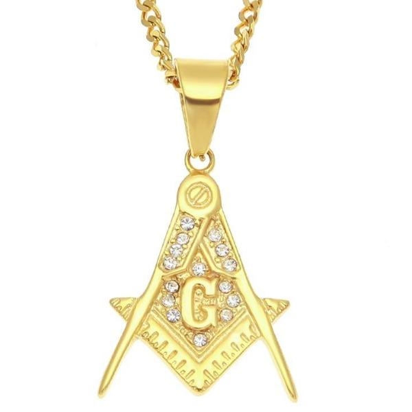 Zirconia Stainless Steel Square Compass G Freemason Pendant - Bricks Masons