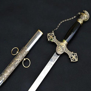 "Knight of St. John Masonic Sword Brass Gold 38"" - Bricks Masons"