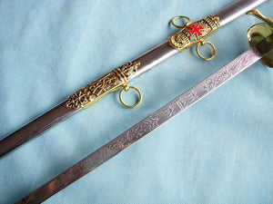"Knight of St. John Templar Masonic Red Cross Sword Gold 35.6"" - Bricks Masons"