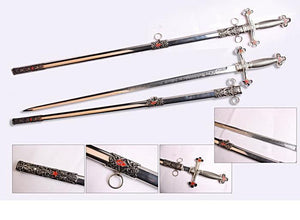 Square Compass Officer Red Star Masonic Sword 39.5""
