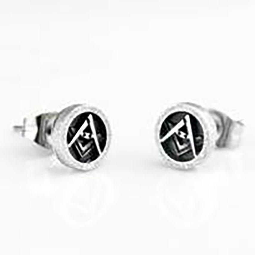 Masonic Stud Earrings 7mm Round