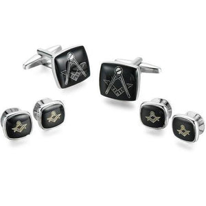 High Quality Classic Tuxedo Masonic Cufflinks Collar Studs Set 6pcs