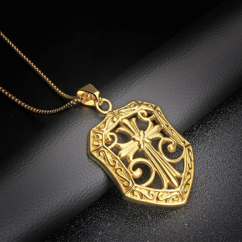 Medieval Golden Shield Cross Necklace