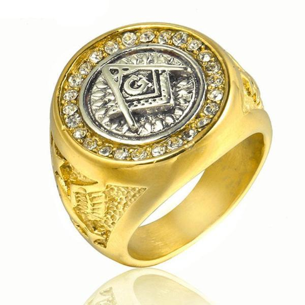 Classic Gold Color Crystal Masonic Stainless Steel Ring - Bricks Masons